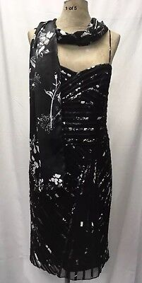 - JS Boutique Black White Floral Stretch Bodycon Dress And Scarf Uk 14.   10