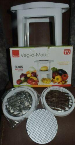 Ronco Veg-O-Matic 4 Blades Wedge Cube Dice Slice 2 Grips Food Prep Cut Chop NIB