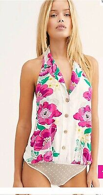 NWT Free People Offshore Button Down Bodysuit Halter Top Ivory Combo L MSRP $68