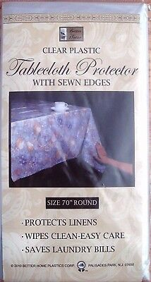 Clear Plastic Tablecloth Protector (thin) W/Sewn Edges Multi-Size USA Seller New (Clear Plastic Tablecloth)