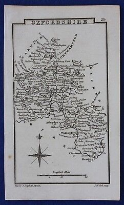 Original antique miniature county map OXFORDSHIRE, Samuel Leigh, 1820-31