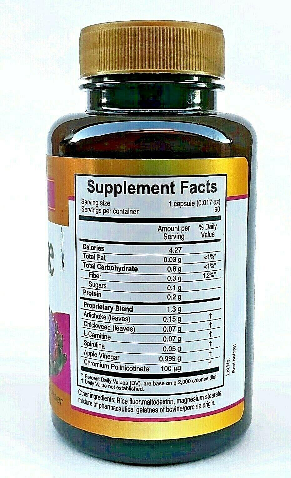 ARTICHOKE From Vida Herbal 90 Capsules 500 mg. Chickweed L-Carnitine Exp 12/2021 2