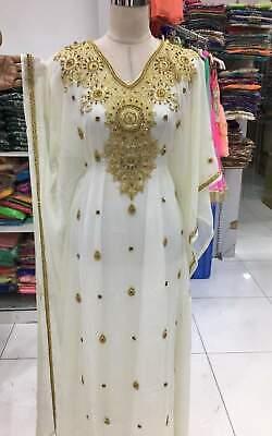 WHITE GEORGETTE MOROCCAN  KAFTANS ABAYA DRESS FANCY LONG GOWN FARASHA MS 1991 - Fancy White Dress