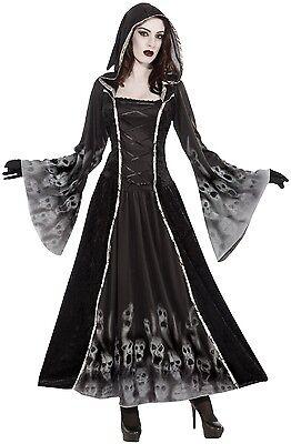 Halloween Voller Kostüme (Damen voll Länge mit Kapuze Seele Eater Halloween Kostüm Kleid Outfit 10-14)
