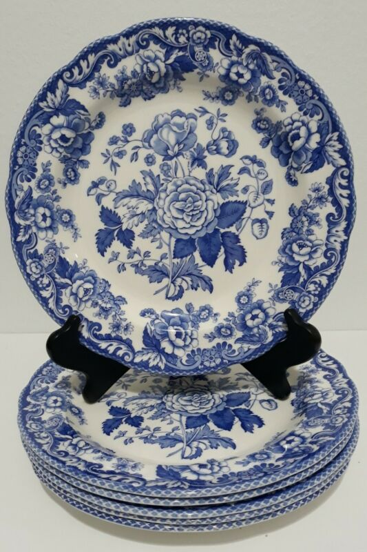 SPODE BLUE ROOM COLLECTION 6 DINNER PLATES BRITISH FLOWERS-ROSA MADE ENGLAND NEW