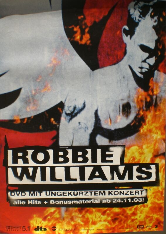 "ROBBIE WILLIAMS ""WHAT WE DID LAST SUMMER"" GERMAN PROMO POSTER W/ DEUTSCH WRITING"