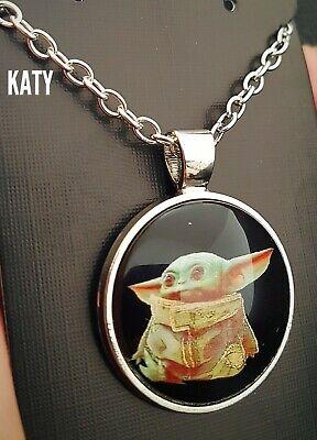 Baby Yoda Star Wars Mandalorian Pendant Silver Chain Necklace Cabochon Gift