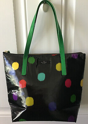 KATE SPADE HANDBAG BLACK PATENT W/COLOR POLKA DOTS ZIPPER
