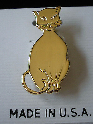CAT PIN Carded Brooch Gold Plated Finish NEW