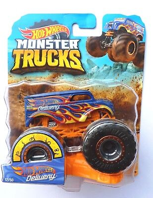 Hot Wheels Monster Trucks  HOT WHEELS DELIVERY  With Crushable Car Rare !!