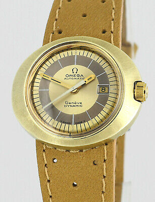 Vintage OMEGA Geneve Dynamic Auto Date Gold Stainles Steel Ladies Wrist Watch