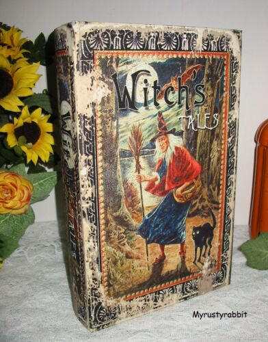 "Vintage Style Witch Halloween Keepsake Storage Book Box - Medium 11"" Stash Box"