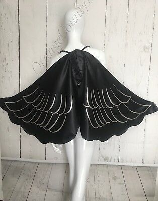 ADULT BLACK  ANGEL WINGS HALLOWEEN COSTUME ACCESSORY One size glitter  - Angel Halloween Costumes