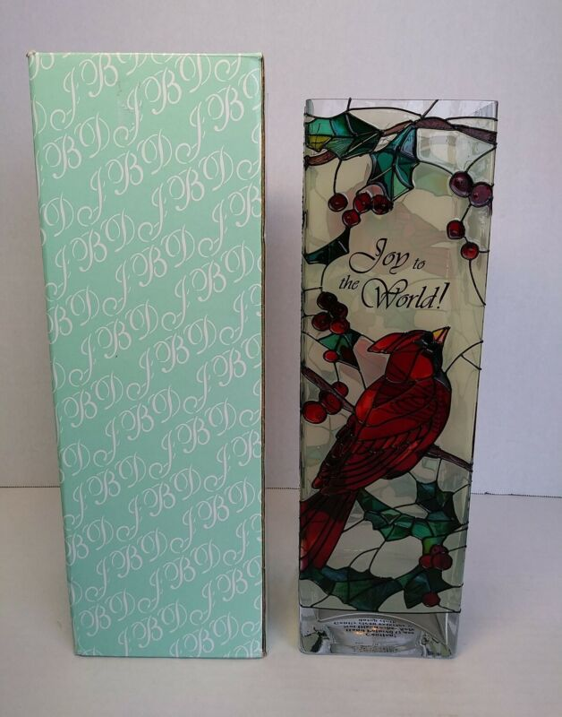 """Joan Baker Hand Painted Stained Glass Vase with Red Birds 10"""" X 3"""""""