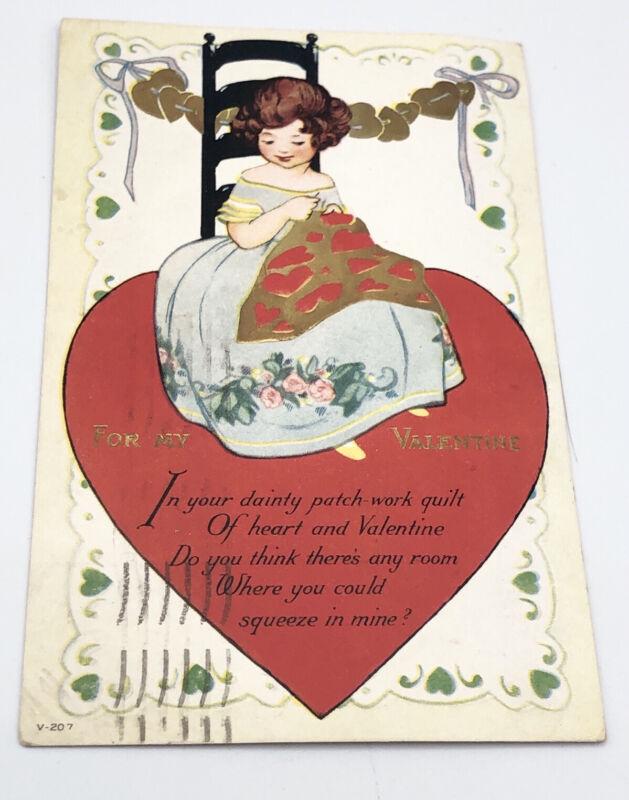 Vintage Antique Valentine Heart Postcard Paper Letter February 14 1923 Mass.