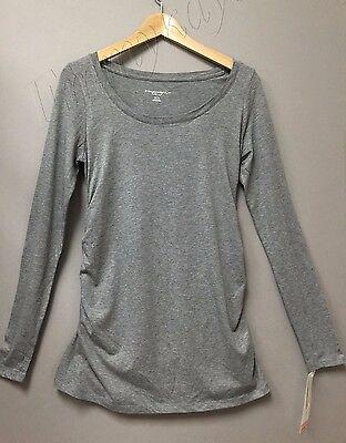 Women's Liz Lange Maternity Top Long Sleeve Gray T-shirt Tee pregnancy Small
