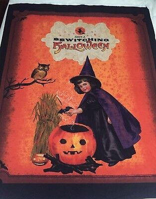 Classic Vintage Bewitching Halloween Design Cute Witch Owl Pumpkin Fabric PANEL - Vintage Classic Halloween