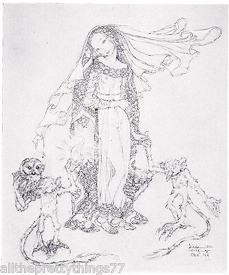 Sulamith Wulfing Fairy Tale PRINCESS Owl on GOBLIN Vintage 1932 MATTED (Fairy Tale Princess Photo)