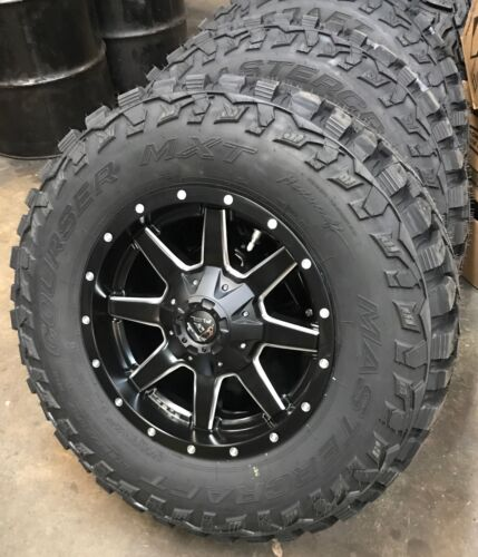"""(5) 17"""" D538 Fuel Maverick Wheels Jeep Wrangler Jk Jl Tj 33"""" Mt Tires Package"""