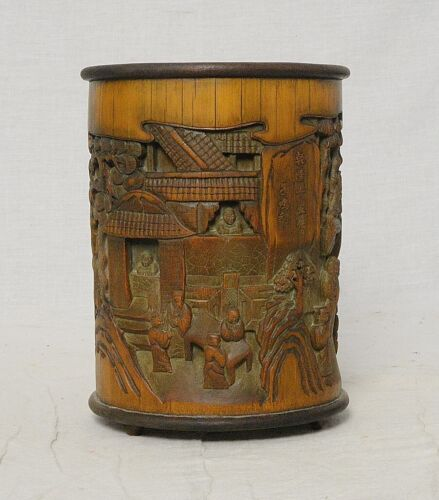 Chinese  Carved  Bamboo  Brush  Holder       M3732
