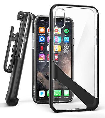 Apple iPhone X Clear Belt Case Cover w/ Holster Clip & Screen Guard Black Cover Case Clear Belt Clip