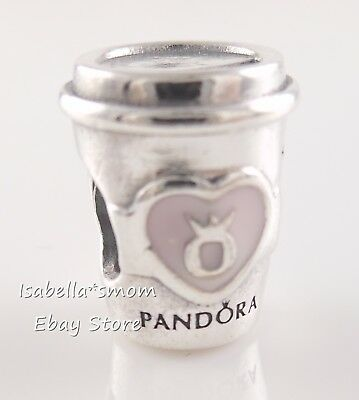DRINK TO GO Genuine PANDORA Pink Enamel COFFEE CUP Charm 797185EN160 NEW w POUCH
