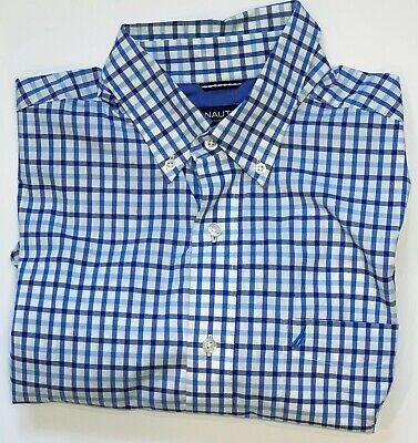 Nautica Size M Men's Plaid Short Sleeve Button Down Shirt Medium Blue & White