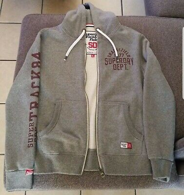 Superdry Men's Full Zip Hoodie Gray Cotton Blend Size Large