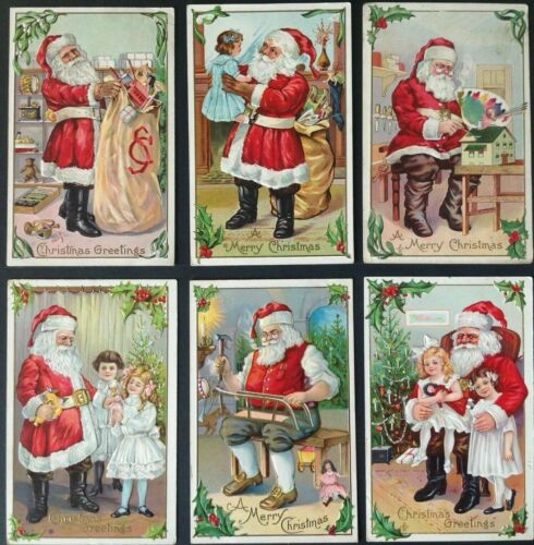 Lot of 6~ Vintage SANTA CLAUS~with Children~Antique~Christmas Postcards-b863