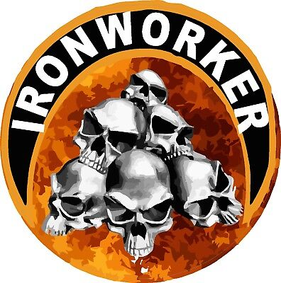 Ironworker With Skulls And Flames Hard Hat Sticker Ciw-17