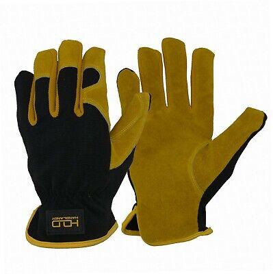 Split Rindleder Handschuhe (Leder Hybrid Arbeitshandschuhe, Premium Rindsleder Split Utility Handschuhe...)