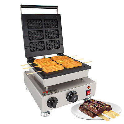 Stick Waffle Iron | Press Type | 6 Square Belgium Waffles | Stainless Steel