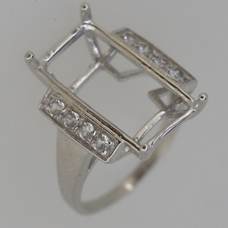 Sterling Silver Semi Mount Ring Setting Emerald OCT 20x10mm W White Topaz Accent