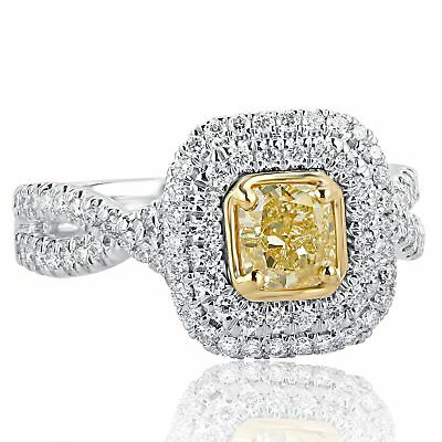 GIA Certified 1.43 Ct VS1 Yellow Cushion Diamond Engagement Ring Infinity 18k