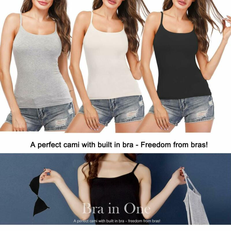 Women/'s Tank Tops Adjustable Strap Camisole With Built in Padded Bra Vest Cami
