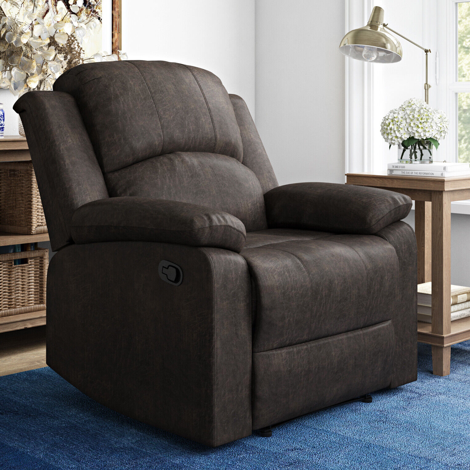 Recliner Chair Lifestyle Solutions Reynolds Manual Faux Sued