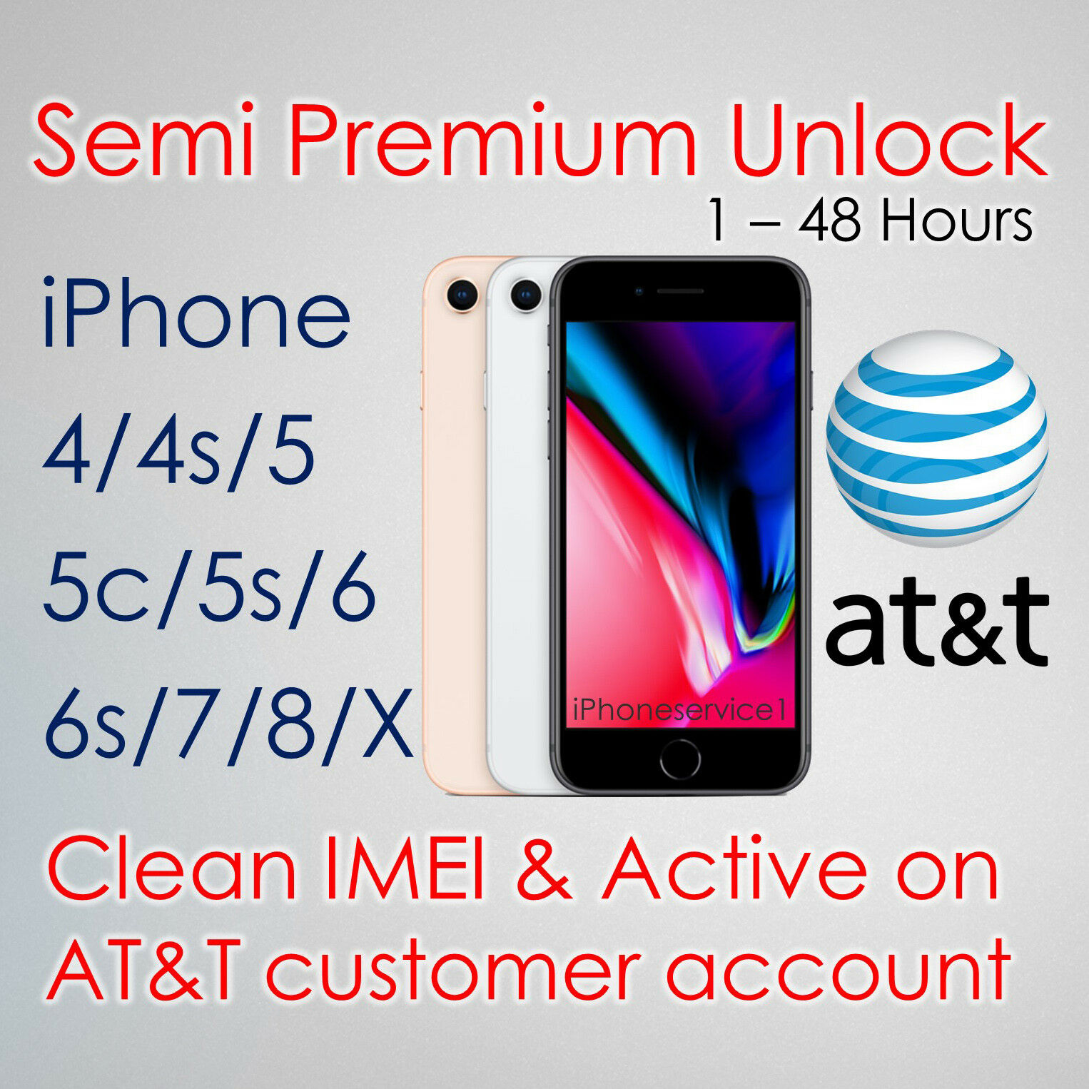 SEMI PREMIUM FACTORY UNLOCK SERVICE CODE FOR AT&T ATT iPhone X 8 7 6s 6 5s 5 4s