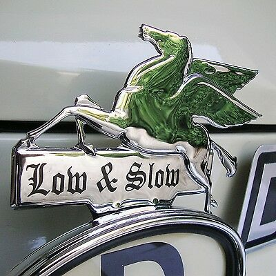 CHROME Pegasus LOW & SLOW Licence Topper Mobil Oil Hot Rod for VW Ford AAC164