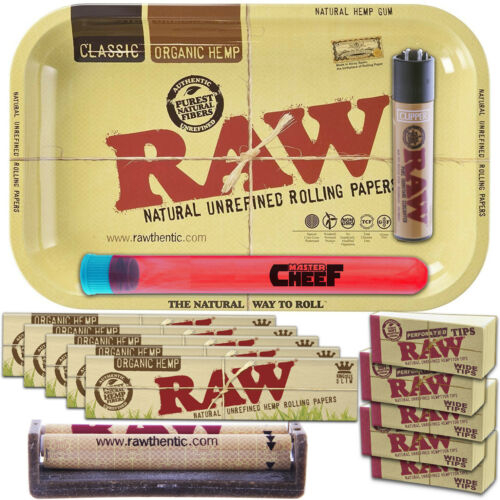 14 Pack RAW ORGANIC HEMP Rolling Papers Bundle KING SIZE with Classic Metal Tray