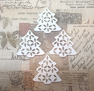 5x White wood christmas trees for jewellery/card embellishments/decorations 35mm ()