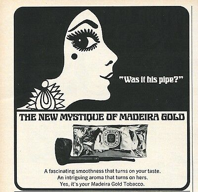 1971 Madeira Gold Pipe Tobacco The New Mystique Print Ad.