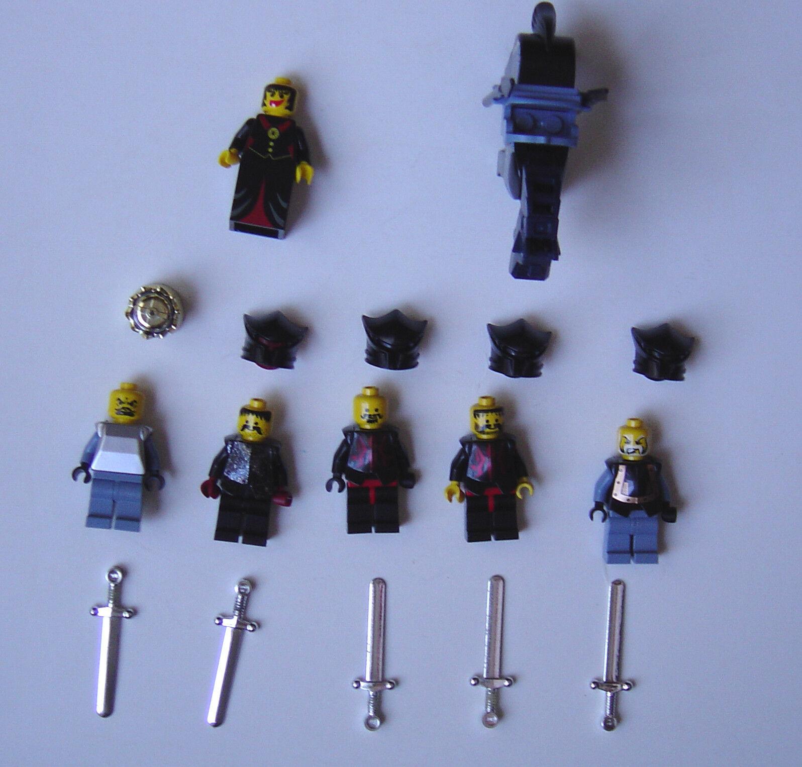 6 LEGO CASTLE EVIL QUEEN MINIFIGURES SILVER SWORDS HORSE HELMETS FANTASY ERA - $32.99