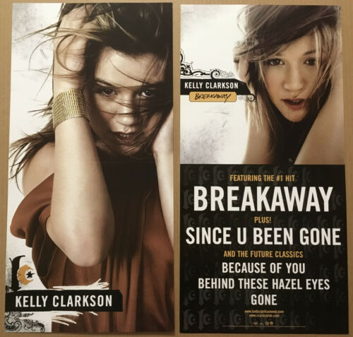 KELLY CLARKSON Rare 2004 DOUBLE SIDED PROMO POSTER FLAT for Breakaway CD 12x24