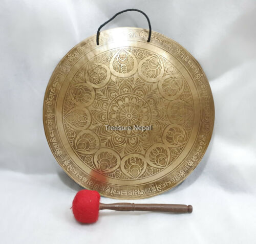18 inches Diameter Tibetan Gong-Mantra carved Gong-Gong From Nepal-Gongs-Peace