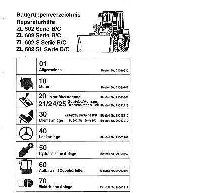 Radlader Zettelmeyer Volvo 502 602 602 SL Reparaturhilfe Werkstatthandbuch CD