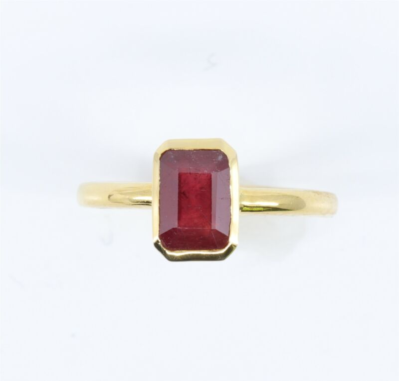1.65 Carat Natural Ruby 14K Yellow Gold Estate Ring