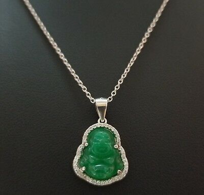 925 Sterling Silver Round Cz Luck Green Jade Buddha Pendant Chain Necklace