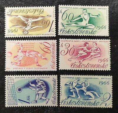 6 Sellos H.B. CHECOSLOVAQUIA 1966. 2 Series completas GIMNASIA RITMICA y BOLEIBO