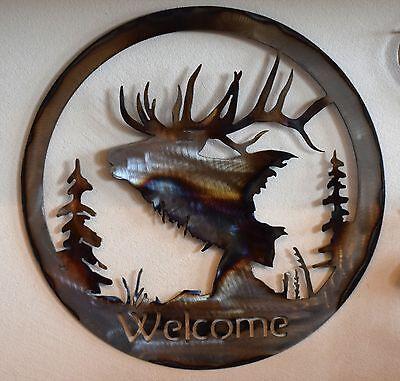Elk Silhouette Welcome Sign Metal Art Metal elk welcome sign  Art Silhouette Welcome Sign