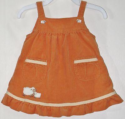 GYMBOREE Size 3-6 Months Orange Corduroy Sleeveless Jumper Dress